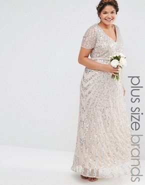 photo Sequin All Over Maxi Dress by Lovedrobe Luxe, color Beige - Image 1