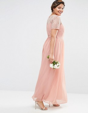 photo Pleated Maxi Dress with Pearl Embellishment by Lovedrobe Luxe, color Pink - Image 2