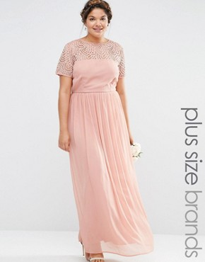 photo Pleated Maxi Dress with Pearl Embellishment by Lovedrobe Luxe, color Pink - Image 1
