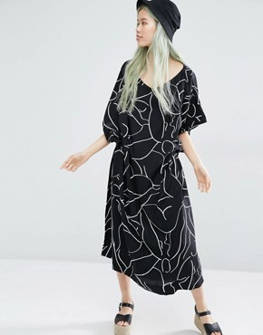photo Kimono Dress with Print Detail by Weekday, color Multi - Image 1