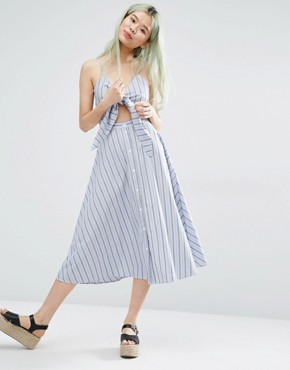 photo Tie Front Dress with Button Front Detail by Weekday, color Multi - Image 1