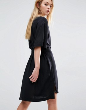 photo Wrap Front Kimono Dress by Weekday, color Black - Image 2