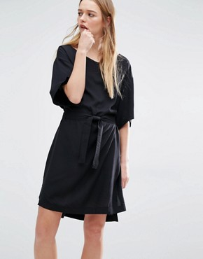 photo Wrap Front Kimono Dress by Weekday, color Black - Image 1