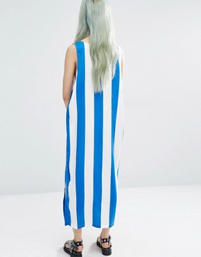 photo Block Stripe Dress with Slits by Weekday, color Multi - Image 2