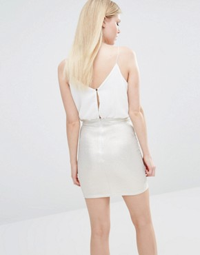 photo 2 in 1 Cami Strap Pencil Dress with Metallic Detail Skirt by TFNC Petite, color White/Gold - Image 2