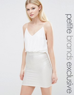 photo 2 in 1 Cami Strap Pencil Dress with Metallic Detail Skirt by TFNC Petite, color White/Gold - Image 1
