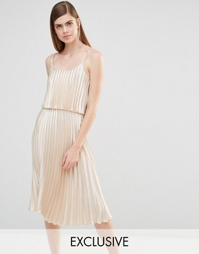 photo Pleated 2 in 1 Midi Dress by True Violet, color Light Gold Satin - Image 1