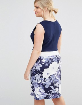 photo Pencil Dress with Floral Skirt by Praslin Plus, color Navy - Image 2