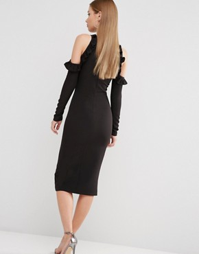 photo Cold Shoulder Midi Dress with Frill Detail by Oh My Love, color Black - Image 2