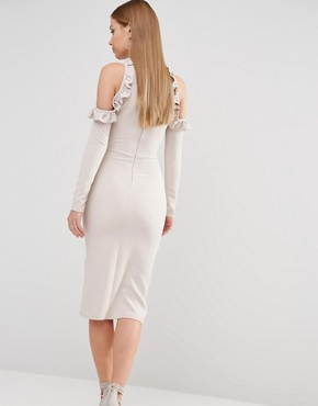 photo Cold Shoulder Midi Dress with Frill Detail by Oh My Love, color Light Grey - Image 2