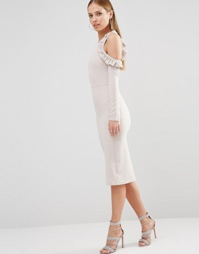 photo Cold Shoulder Midi Dress with Frill Detail by Oh My Love, color Light Grey - Image 1