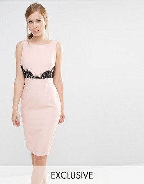 photo V Back Pencil Dress with Lace Trim by Elise Ryan, color Nude/Black - Image 1