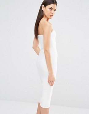 photo Exclusive Cut Out Bandeau Midi Dress by Missguided Tall, color White - Image 2