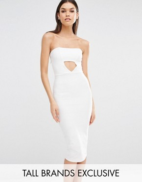 photo Exclusive Cut Out Bandeau Midi Dress by Missguided Tall, color White - Image 1