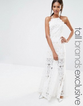 photo Exclusive High Neck Scallop Lace Maxi Dress White by Missguided Tall, color White - Image 1
