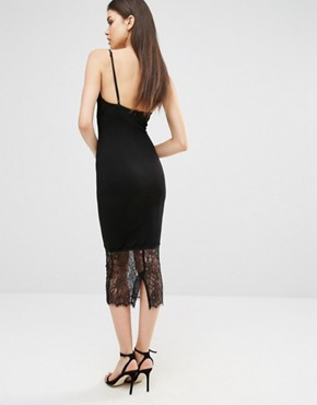 photo Lace Hem Midi Dress by Missguided Tall, color Black - Image 2