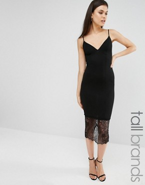 photo Lace Hem Midi Dress by Missguided Tall, color Black - Image 1