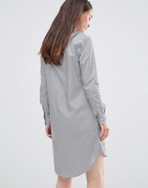 photo Livi Long Sleeve Stripe Shirt Dress by Selected, color Peacoat Striped - Image 2