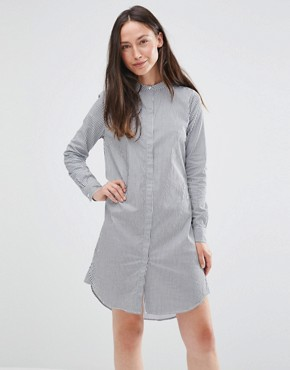 photo Livi Long Sleeve Stripe Shirt Dress by Selected, color Peacoat Striped - Image 1