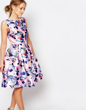 photo Sateen Prom Dress in Floral Print by Chi Chi London, color Nude Floral - Image 1