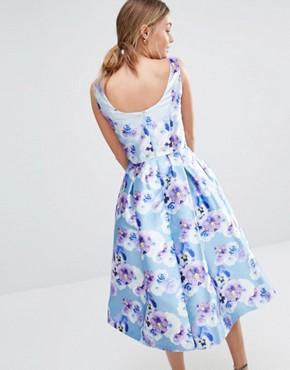 photo Sateen Prom Dress in Floral Print by Chi Chi London, color Blue Purple Floral - Image 2