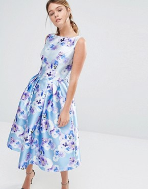 photo Sateen Prom Dress in Floral Print by Chi Chi London, color Blue Purple Floral - Image 1