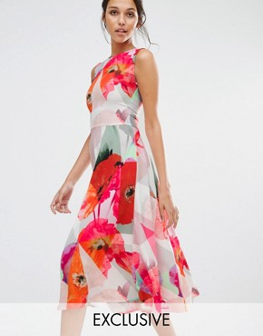 photo Fragmented Poppy Drop Waist Dress by Every Cloud, color Multi Print - Image 1