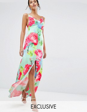 photo Rose Print Strappy Maxi Dress by Every Cloud, color Multi Print - Image 1