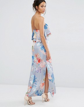 photo Etched Floral Frill Bandeau Maxi Dress by Every Cloud, color Multi Print - Image 2