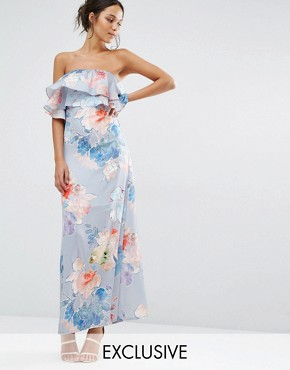 photo Etched Floral Frill Bandeau Maxi Dress by Every Cloud, color Multi Print - Image 1