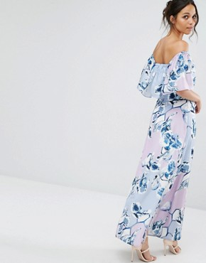 photo Patched Floral Off Shoulder Maxi Dress by Every Cloud, color Multi Print - Image 2