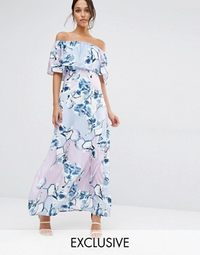 photo Patched Floral Off Shoulder Maxi Dress by Every Cloud, color Multi Print - Image 1