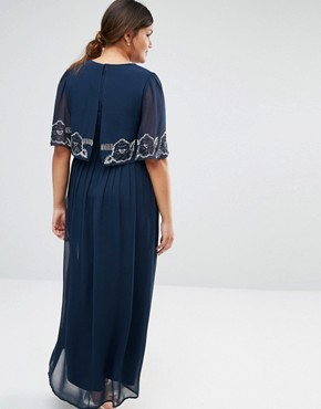 photo Cape Overlay Maxi Dress by Lovedrobe Luxe, color Navy - Image 2