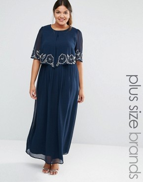 photo Cape Overlay Maxi Dress by Lovedrobe Luxe, color Navy - Image 1