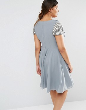 photo Short Sleeve Midi Dress with Embellished Sleeves and Wrap Front Detail by Lovedrobe Luxe, color Grey - Image 2