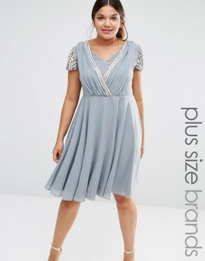 photo Short Sleeve Midi Dress with Embellished Sleeves and Wrap Front Detail by Lovedrobe Luxe, color Grey - Image 1