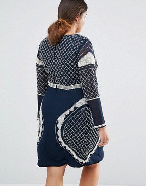 photo Long Sleeve Plunge Mini Dress with Patterned Beaded Embellishment by Lovedrobe Luxe, color Navy - Image 2