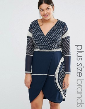 photo Long Sleeve Plunge Mini Dress with Patterned Beaded Embellishment by Lovedrobe Luxe, color Navy - Image 1