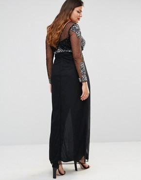 photo All Over Mesh Maxi Dress with Embellished Bodice Detail by Lovedrobe Luxe, color Black - Image 2