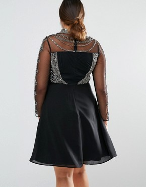 photo Long Sleeve High Neck Mini Dress with Embellished Bodice and Sleeves by Lovedrobe Luxe, color Black - Image 2