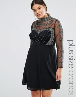 photo Long Sleeve High Neck Mini Dress with Embellished Bodice and Sleeves by Lovedrobe Luxe, color Black - Image 1