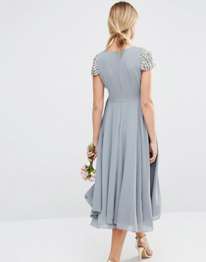 photo Short Sleeve Midi Dress with Embellished Sleeves and Wrap Front Detail by Maya Maternity, color Grey - Image 2