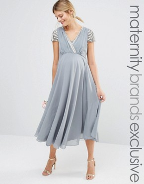 photo Short Sleeve Midi Dress with Embellished Sleeves and Wrap Front Detail by Maya Maternity, color Grey - Image 1