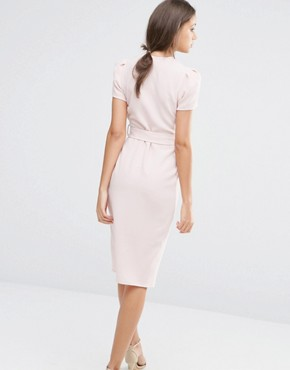 photo Wrap Front Tie Waist Dress by Alter Tall, color Blush - Image 2