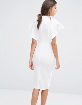 photo Flutter Sleeve Bodycon Dress with Keyhole Detail by Alter Tall, color Cream - Image 2