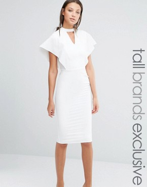 photo Flutter Sleeve Bodycon Dress with Keyhole Detail by Alter Tall, color Cream - Image 1