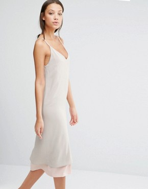 photo Colour Block Strappy Midi Cami Slip Dress with Back Detail by Alter Tall, color Nude - Image 1