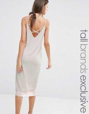 photo Colour Block Strappy Midi Cami Slip Dress with Back Detail by Alter Tall, color Nude - Image 2