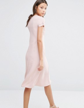 photo Button Front Short Sleeve Midi Dress by Alter Tall, color Blush - Image 2