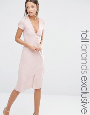 photo Button Front Short Sleeve Midi Dress by Alter Tall, color Blush - Image 1